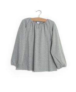 T-shirt botão cinzenta